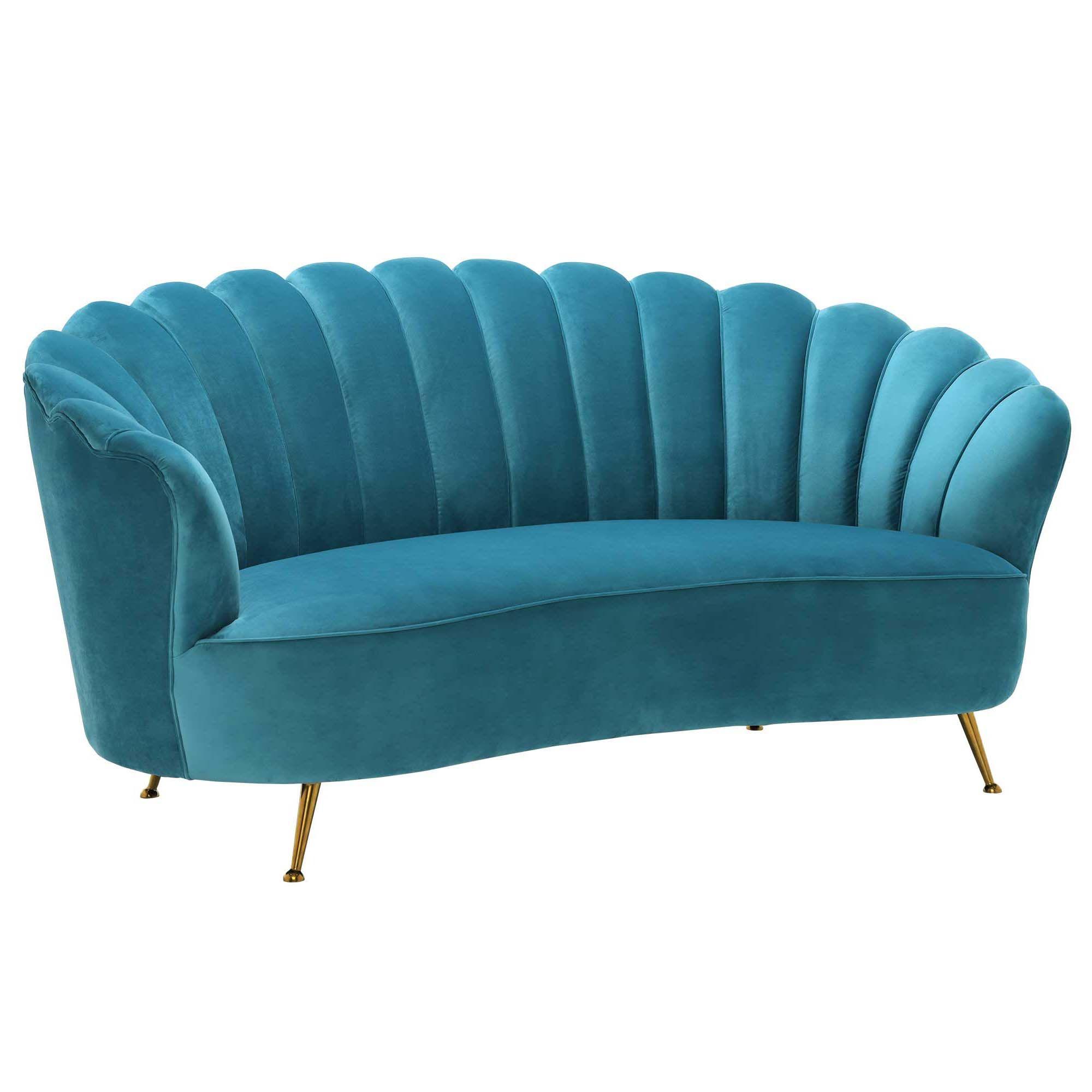 Fairmont Scalloped Art Deco Sofa Blue Art Deco Interior Living