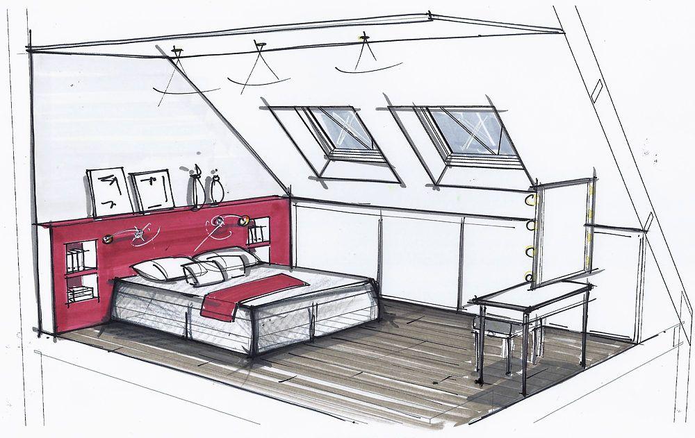 Chambre petits espaces pinterest chambres croquis for Plan architecte chambre hotel