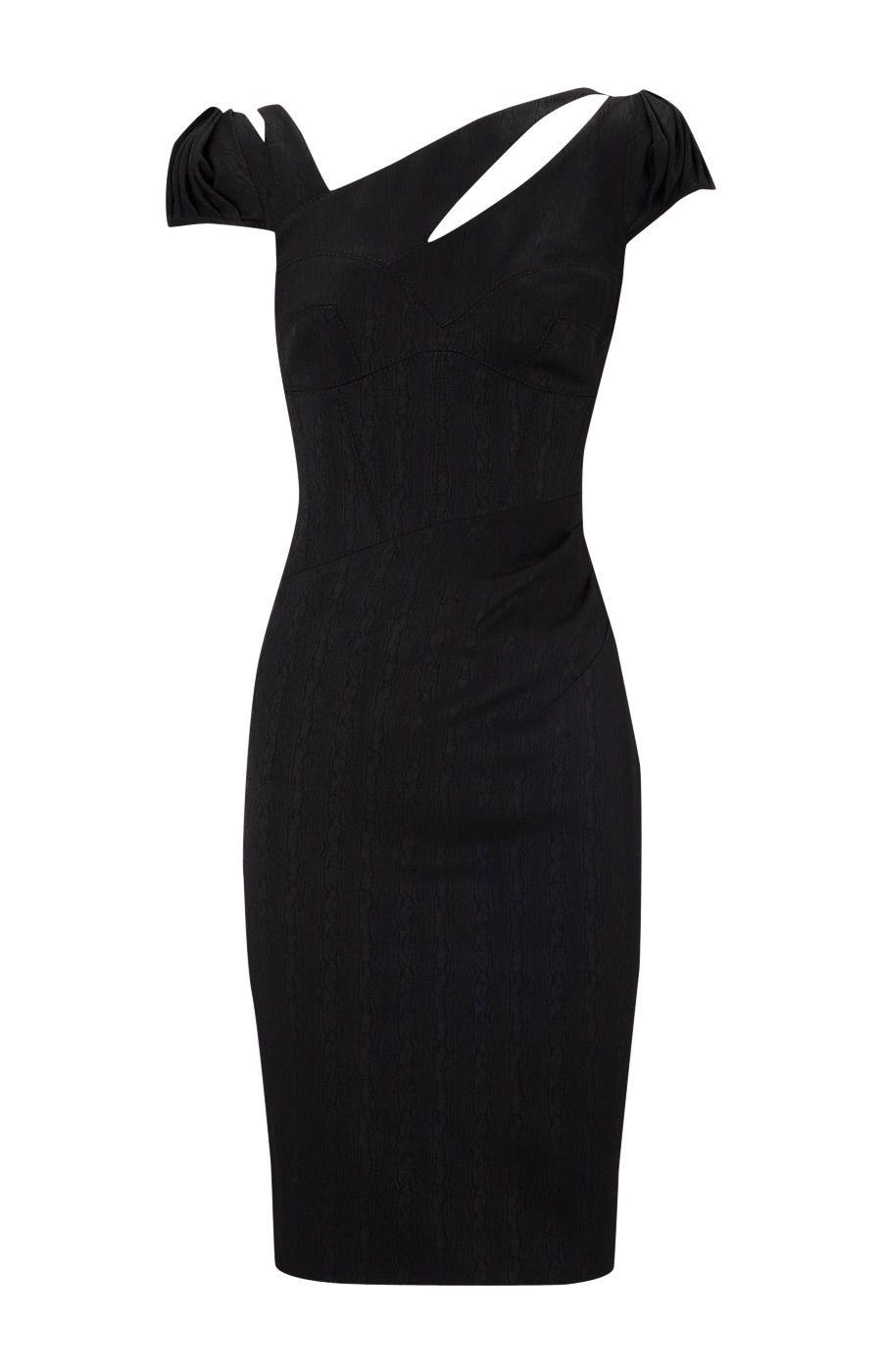 Black dress karen millen - Karen Millen Jacquard Moire Dress Black Karen Millen Dk004 Www Karenmillenoutletonline Ireland