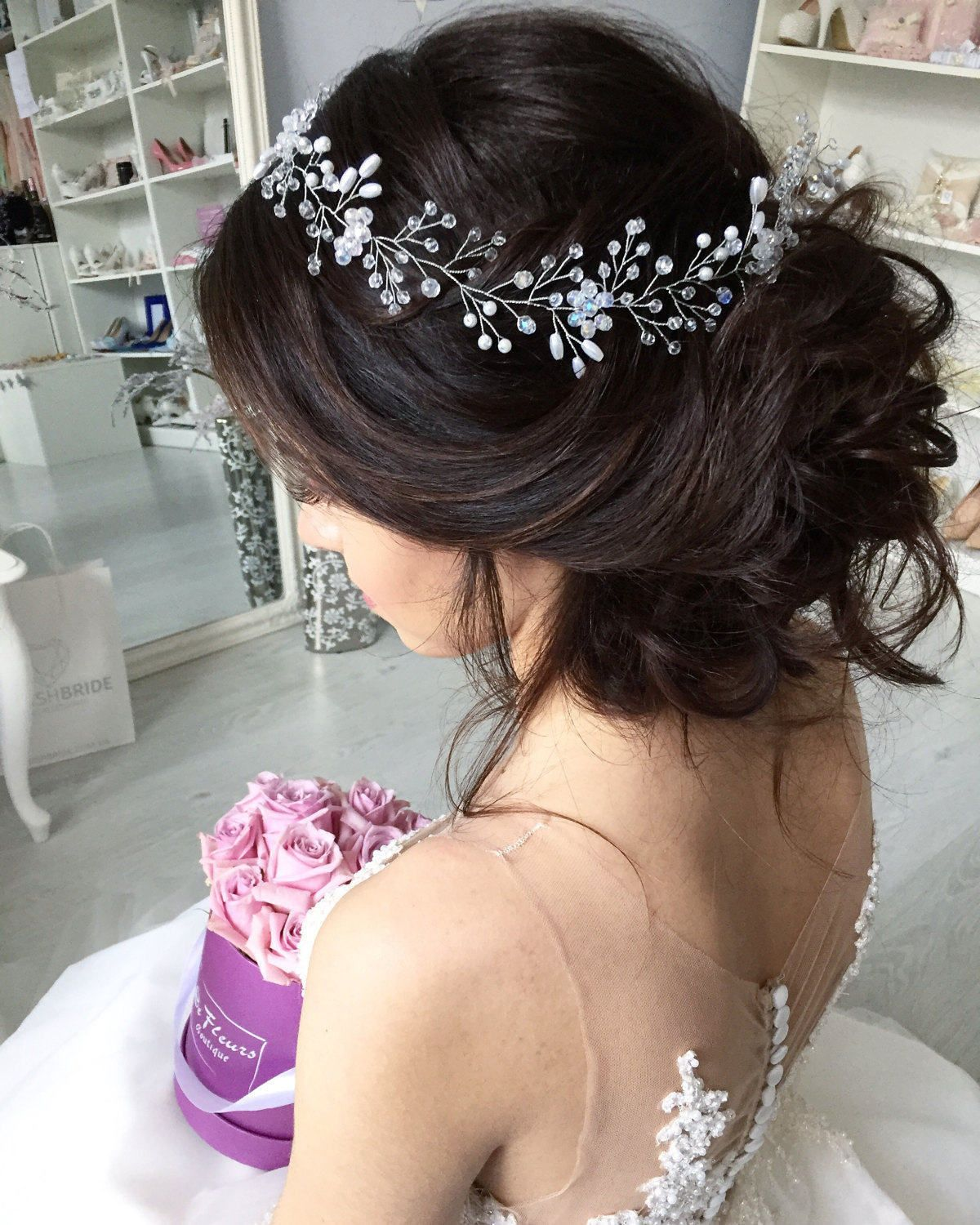 wedding crystal pearl hair vine, pearl hair accessories