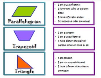 Here's a set of clue cards and 2-D shapes for use in a matching activity.