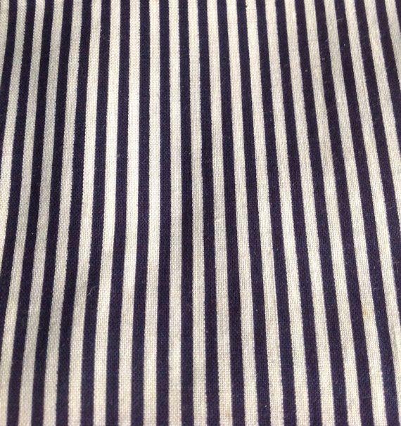 "Antique Vintage Pinstripe Cotton Shirting Fabric / blue & white stripes, 36x37"", 1 yard"