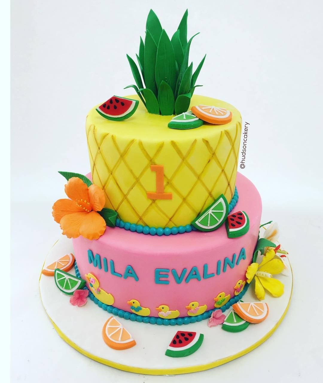 First Birthday Pineapple Luau Hudsoncakery