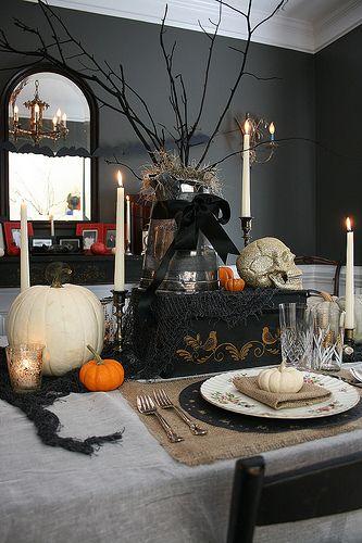 Samhain tablescape by le papillon vert, via Flickr ~All Hallow\u0027s - vintage halloween decorating ideas