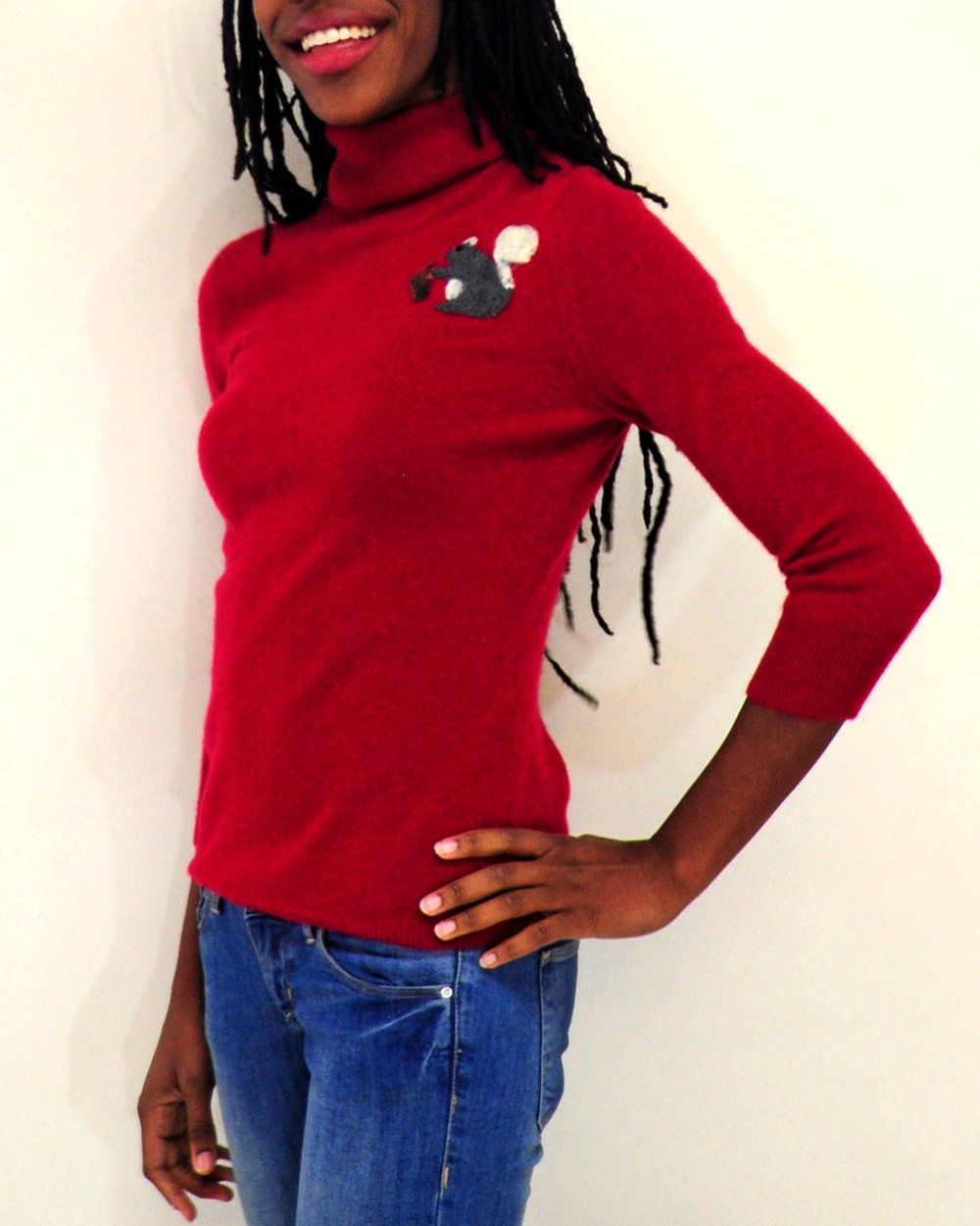 eda53a9a34d Keep cozy this winter in this pretty red turtle neck  cashmere sweater.  Perfect for a fun christmas gift!