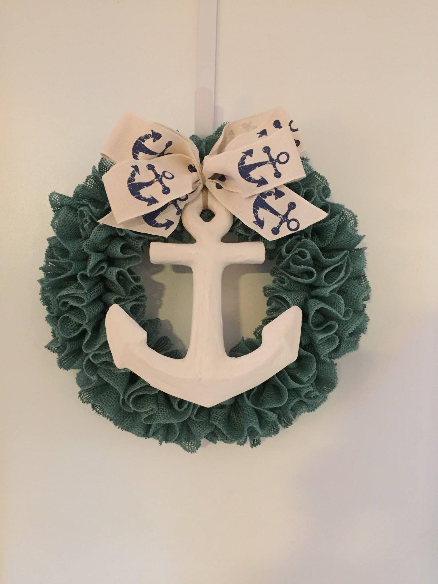 Burlap Wall Decor anchor wreath, natural burlap, white anchor, turquoise burlap