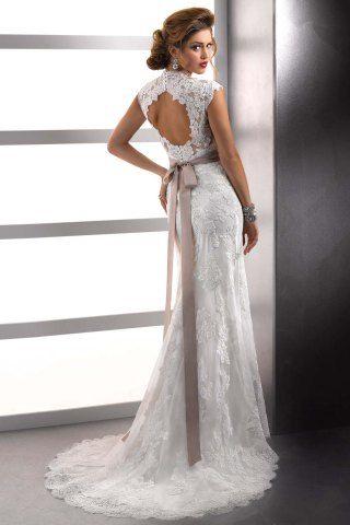 Graceful V-Neck Beading Handmade Flower Design Backless Sash Mermaid Court Train Lace Wedding Dress For Women It is YE3686701, not Sottero &...