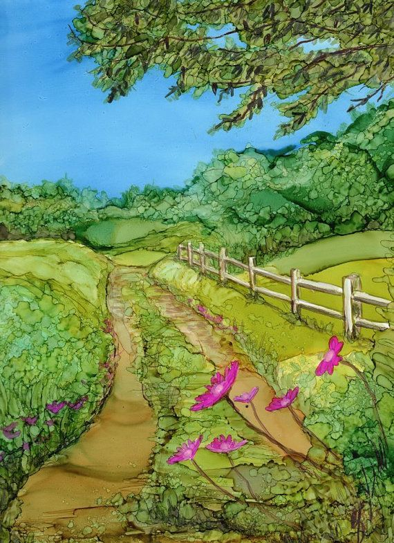 Original Alcohol Ink painting- 8x10 yupo with white 11x14 mat. Country Road