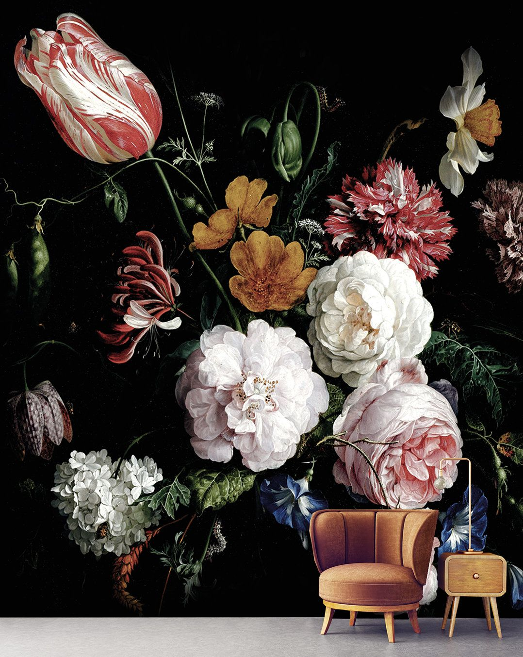 Dark Floral Peel And Stick Wallpaper Dutch Flowers Oil Painting