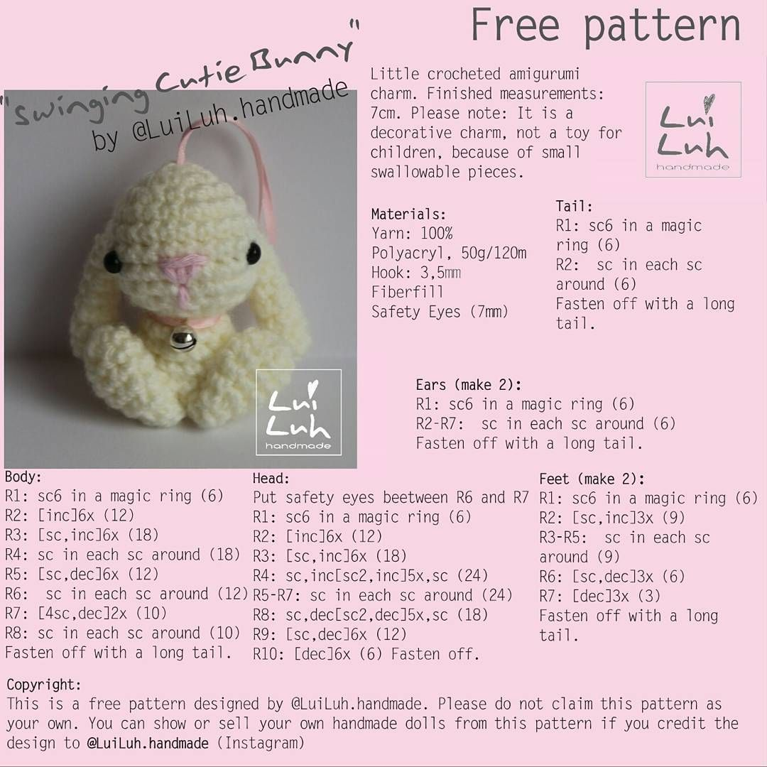 Amigurumi bunny - free crochet pattern | haken | Pinterest | Conejo ...