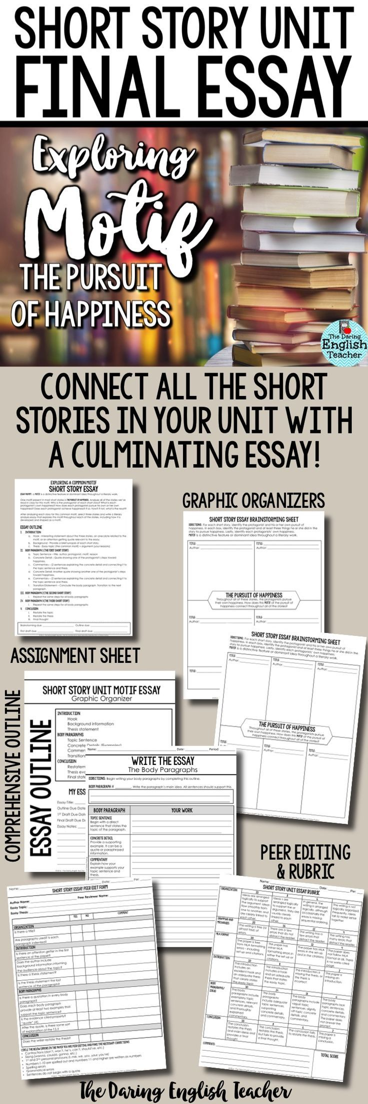 Science Essay Questions Bring Your Short Story Unit Together By Connecting Each Story To A Common  Motif High School Essay High School Writing Assignment Essays For High School Students also Essay Examples High School Short Story Unit Final Essay Analyzing Motif The Pursuit Of  Thesis In A Essay