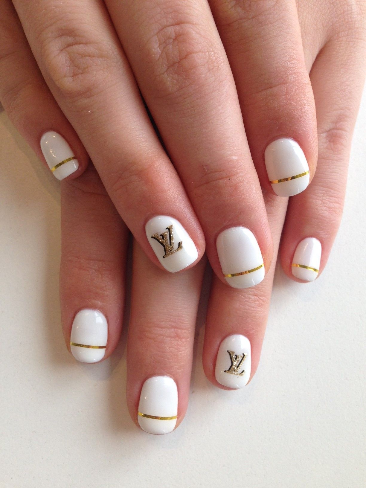 White nails in Bio Sculpture Gel colour: #3 - Snow White with LV ...