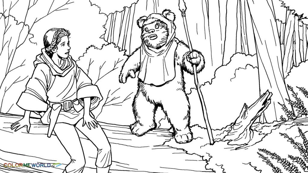 Princess Leia Meet Wicket Coloring Page 70199568576 Jpg 1024 576 Star Coloring Pages Princess Coloring Pages Coloring Pages