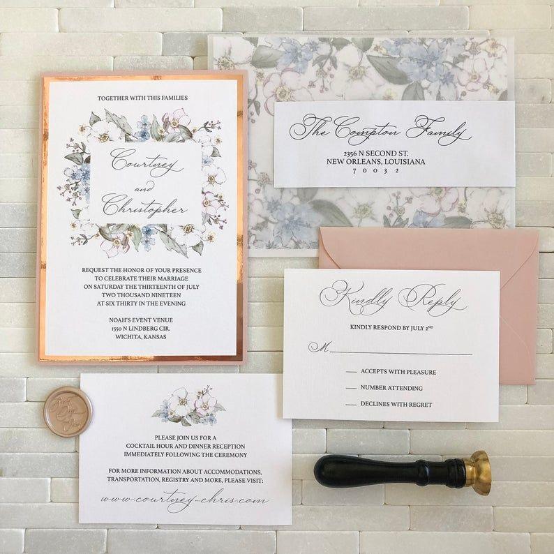 Formal Watercolor Invitation In 2020 Botanical Wedding