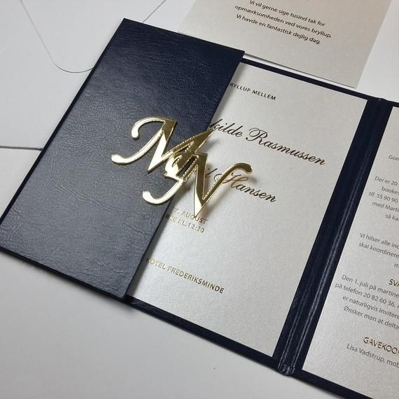 Gorgeus Hard Cover Invitations Navy and Gold Hardcover Suite Acrylic Initials White Satin