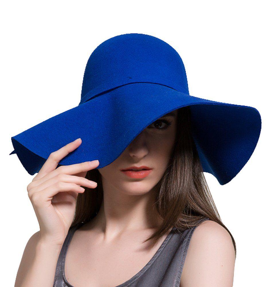 47501a5ee Women's Wool Ribbon Band Foldable Floppy Hat Royal Blue | Hats ...