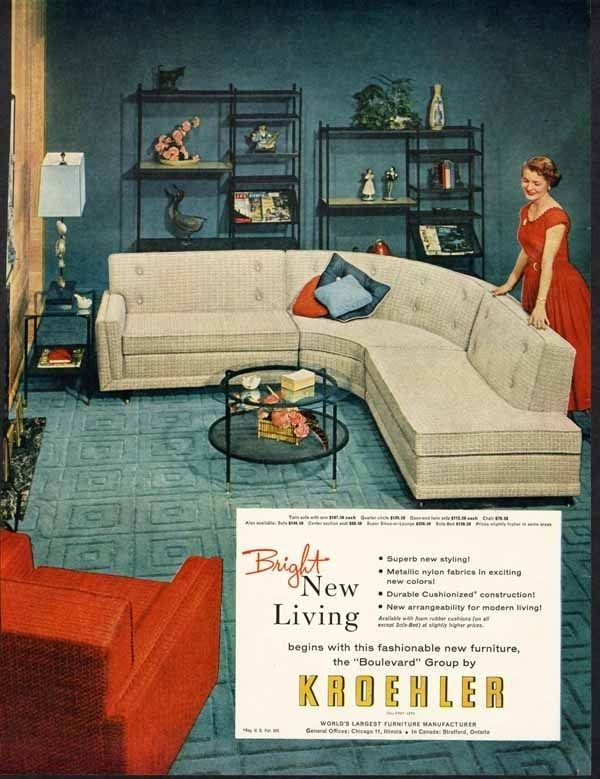 Kroehler Furniture Ad 1955 Mid Century Modern Sofa Chair Ad