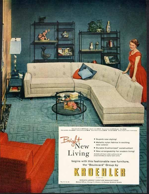 Kroehler Furniture Ad 1955 Mid Century Modern Sofa Chair Ad