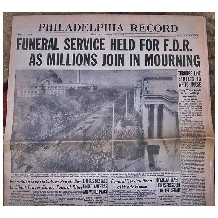 Newspaper On The Funeral Service For Franklin Delano Roosevelt