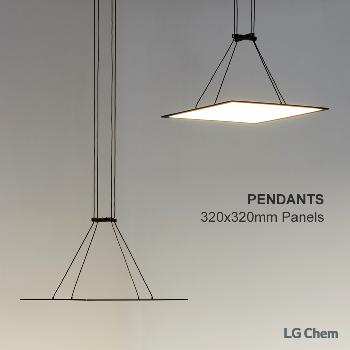 these are pendant lamp with 320x320mm lg chem oled light. Black Bedroom Furniture Sets. Home Design Ideas