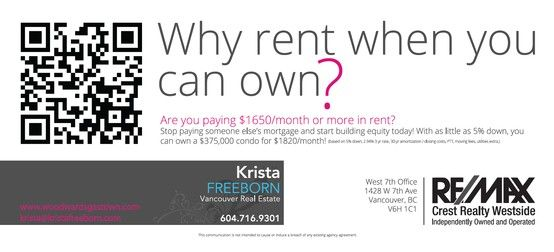 Mailout back design for REALTOR Krista Freeborn (www