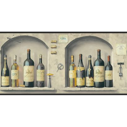 Http Www Papermywalls Com York American Classics Wine Bottles In Stone Niche Kitchen Wallpaper Wine Decor Kitchen Wallpaper Border Wallpaper Border Kitchen