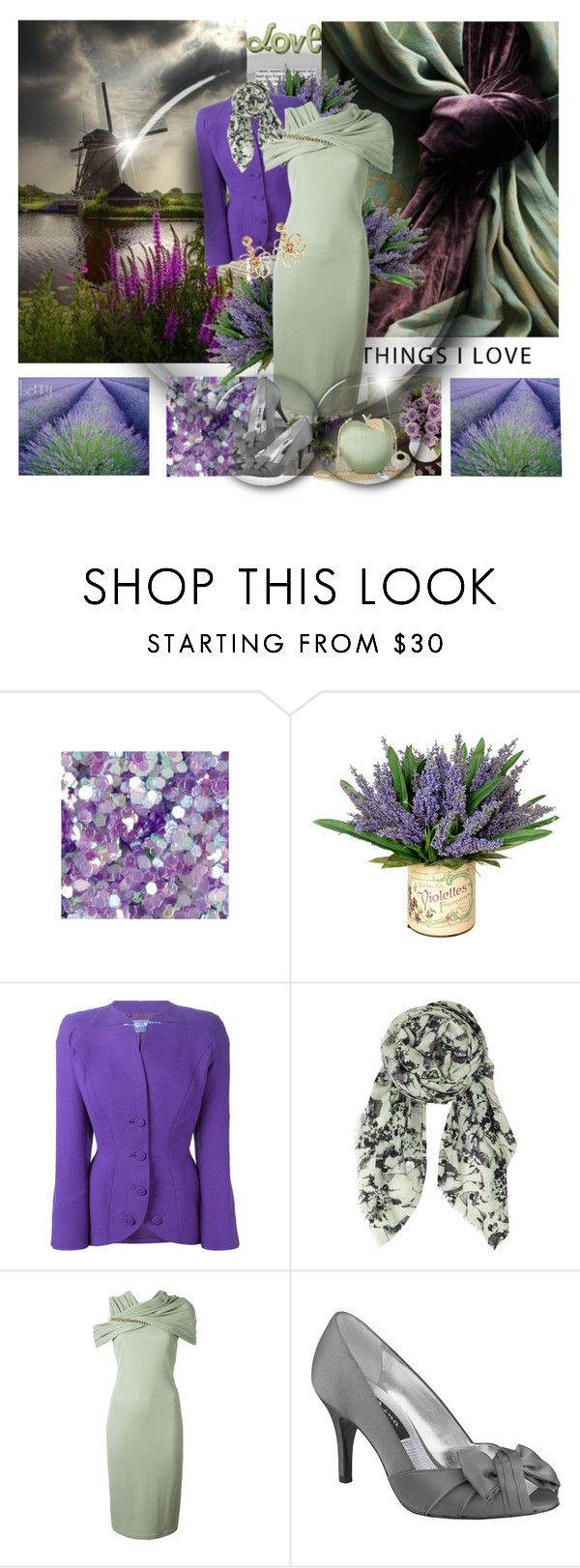 """Green, Purple and Gray Tones"" by berry1975 ❤ liked on Polyvore featuring de Le Cuona, Thierry Mugler, BeckSöndergaard, Givenchy, Anya Hindmarch and Oscar de la Renta"