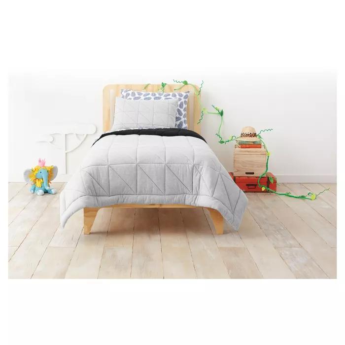 2pc Twin Jersey Comforter Set Gray - Pillowfort™