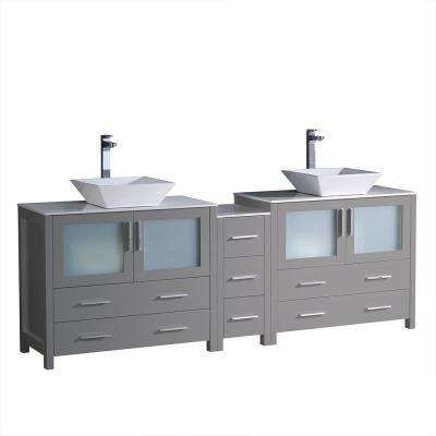 Torino 84 in W Double Bath Vanity in Gray with Glass Stone Vanity
