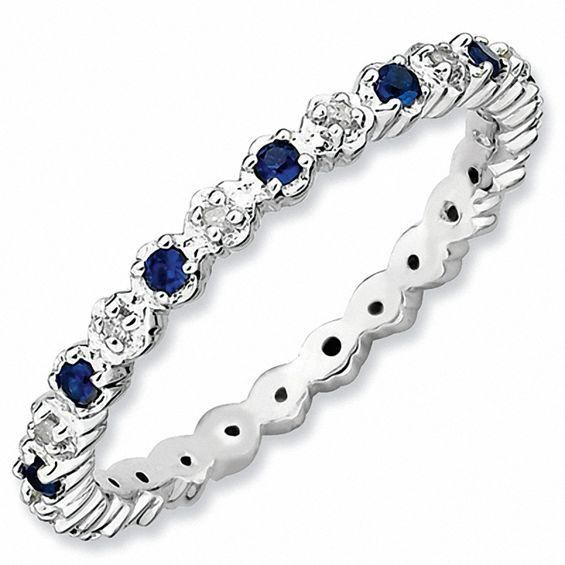 Zales Stackable Expressions Lab-Created Ruby Eternity Band in Sterling Silver TUwowqzCF5