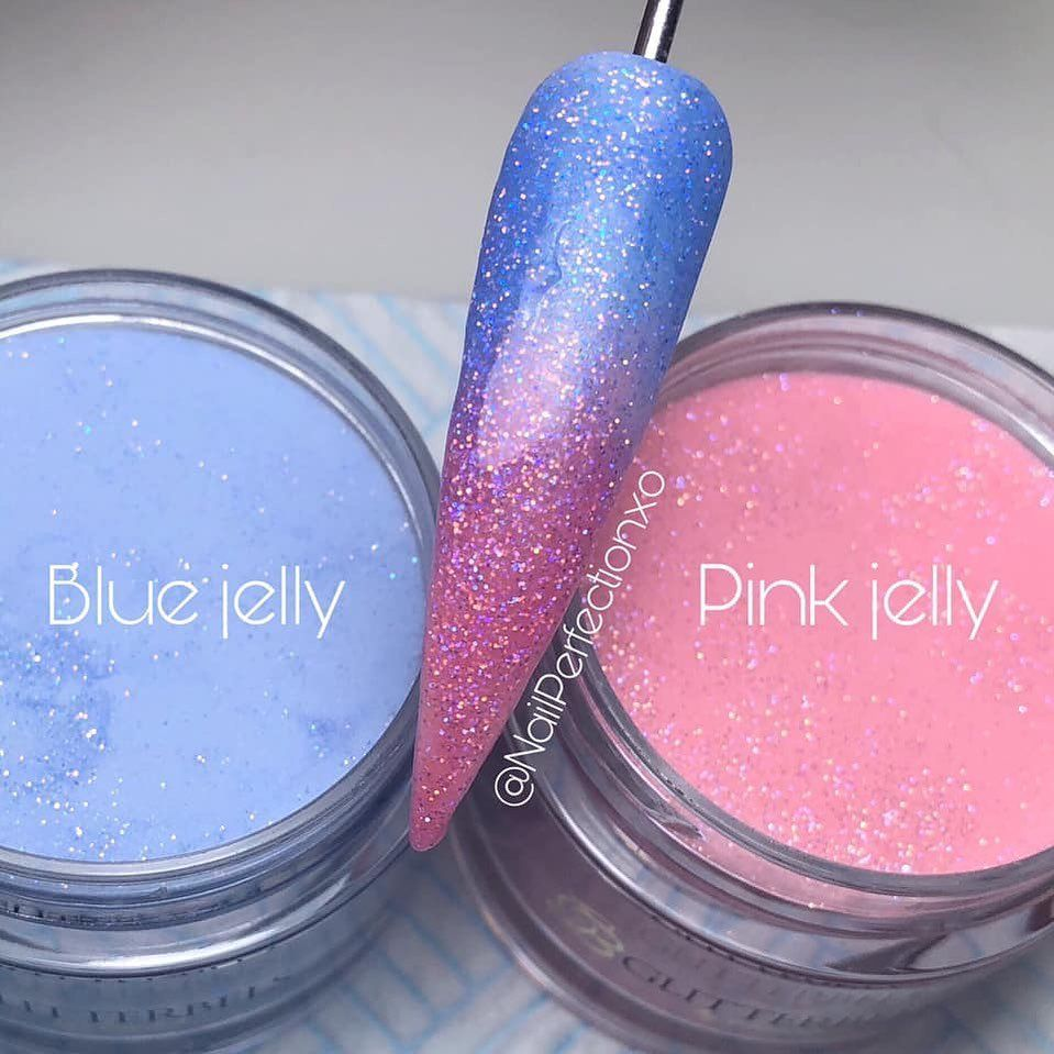 nailperfectionxo using glitterbels colour powder in pink jelly and blue jelly glam nails color powder nail designs pinterest
