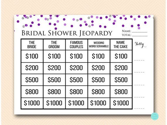 Purple Silver Jeopardy Bridal Shower Who Knows The Bride Groom Famous S Bach