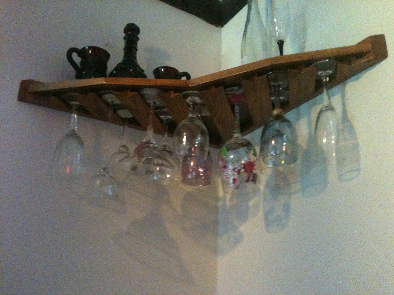 Hanging wine rack with glass holder - 18 Wine Glass Rack Corner Mount Stemware Holder Oak 120