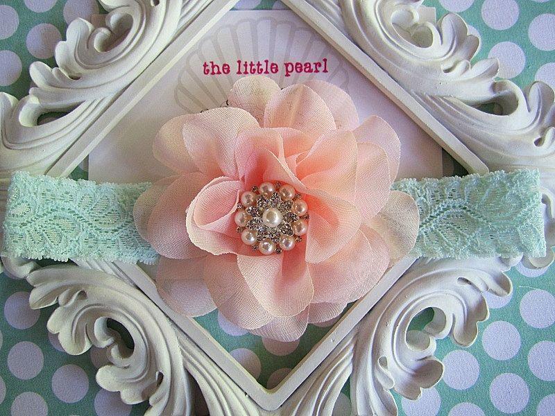 Baby Girl Headband - Baby Headband -  Peach Flower Lace Headband  -  Newborn Headband - Vintage Baby - Baby Photo Prop. $15.00, via Etsy.