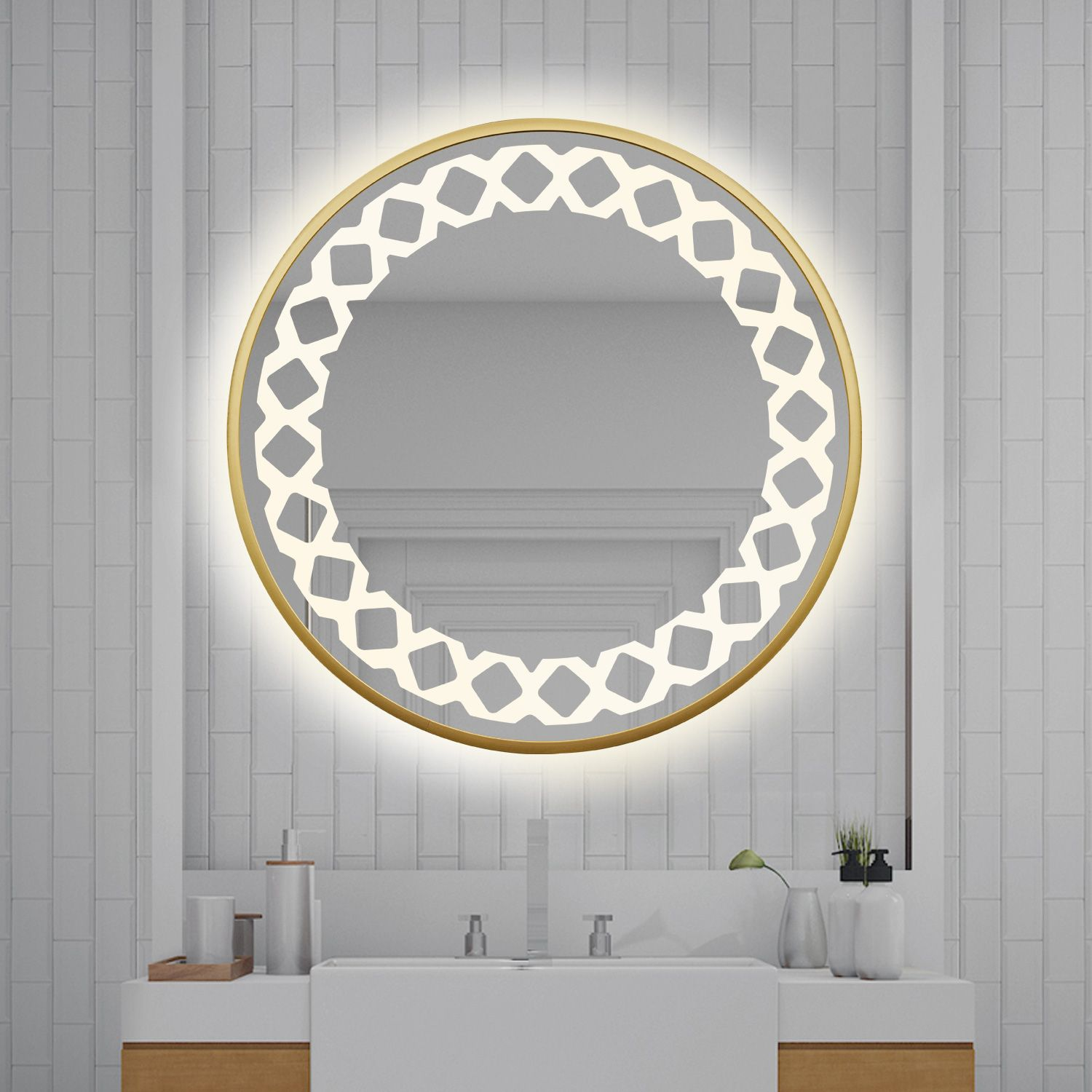 Simple Fashion Design Safe And Easy To Install Led Lighting Consumes Up To 80 Less Energy Than Oth Modern Mirror Wall Mirror Wall Wall Mounted Makeup Mirror