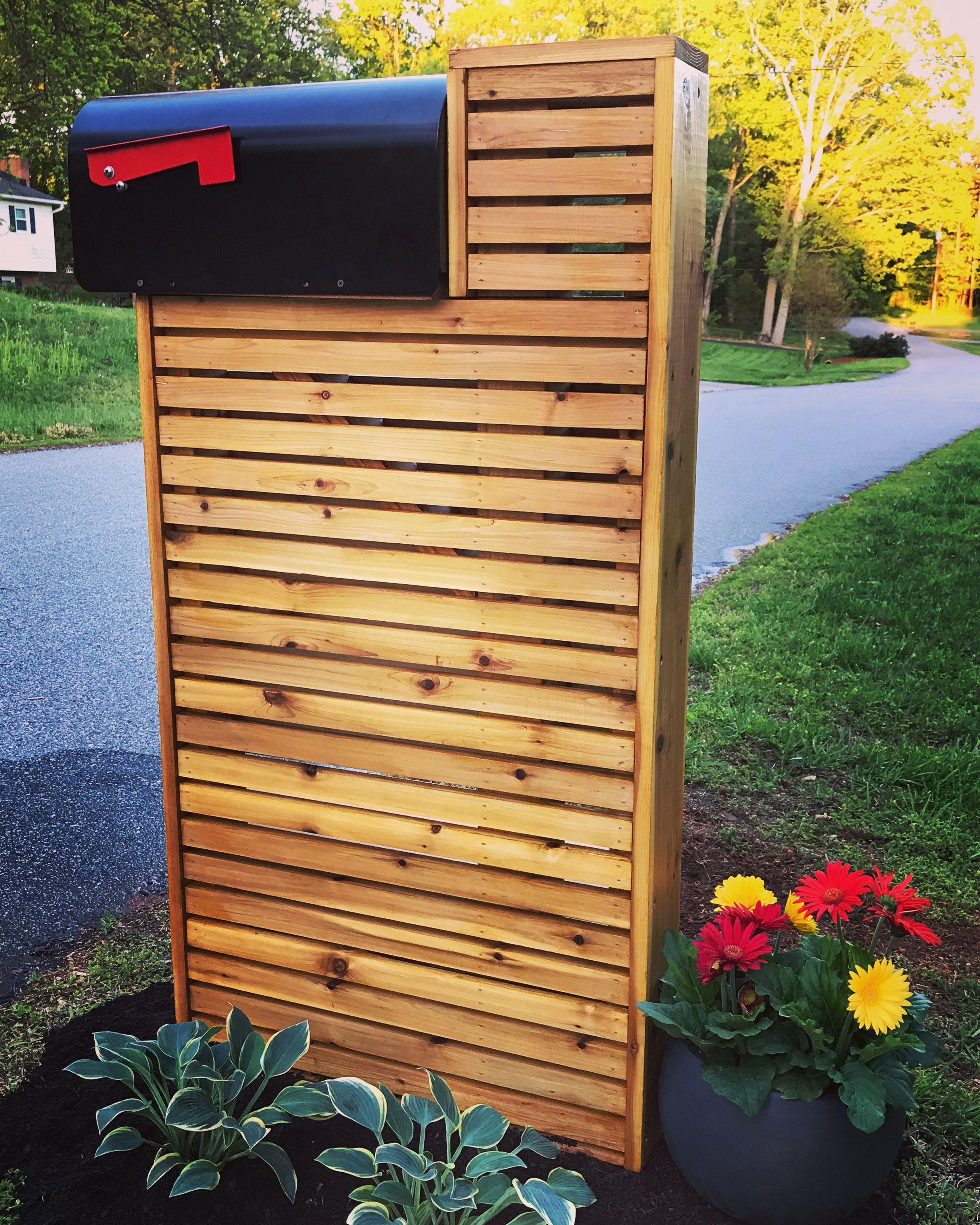 Mid Century Modern Cedar Mailbox Diy Mailbox Landscaping Mailbox Makeover Modern Mailbox