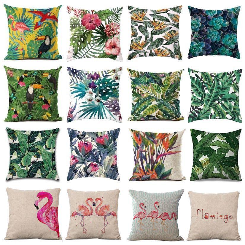 "18/"" Nordic simple green plants Cotton Linen Pillow Case Sofa Throw Cushion Cover"