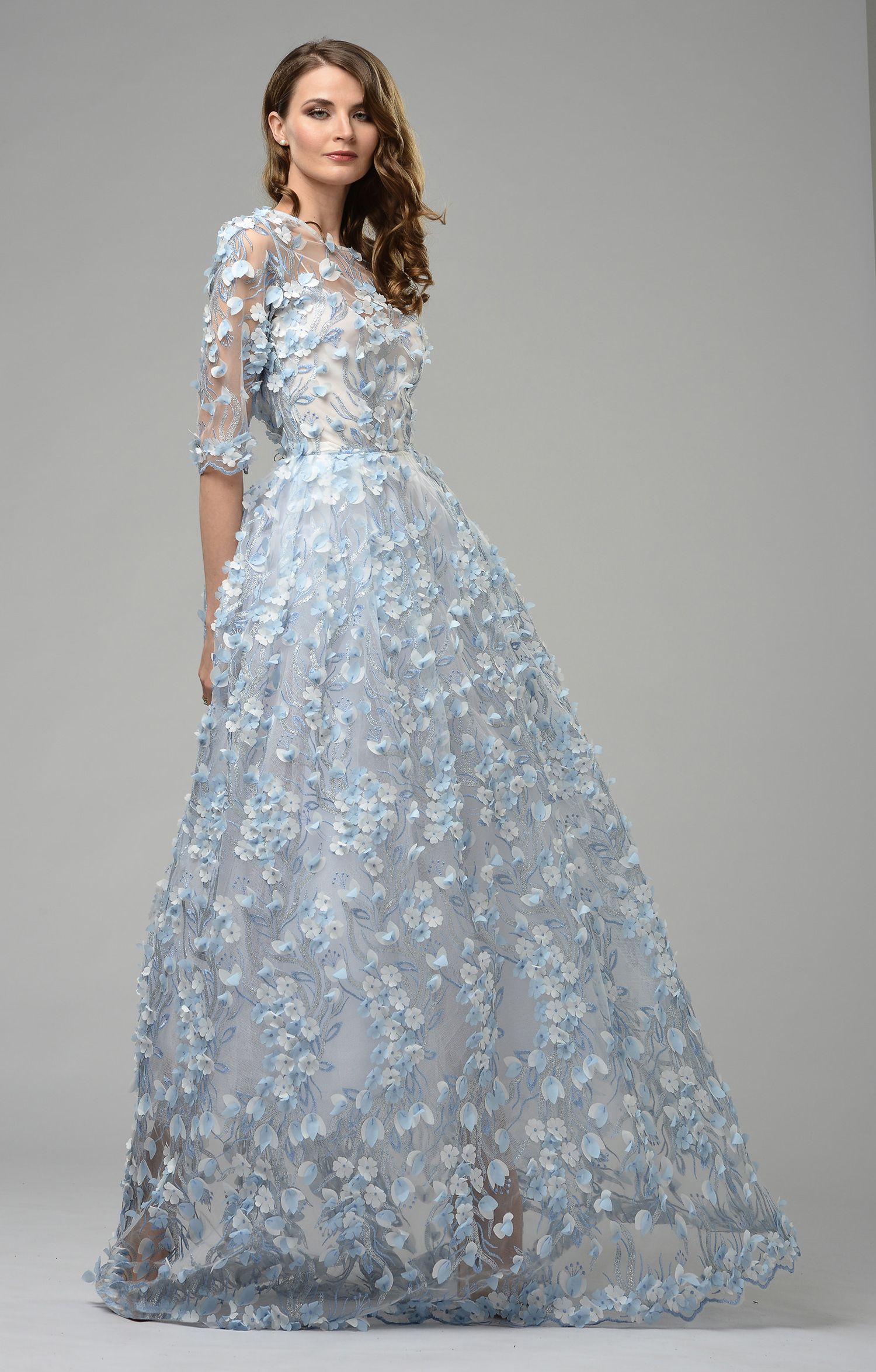 "Haute Couture Dress ""Noemi"" blue - Matsouri  Designer kleider"