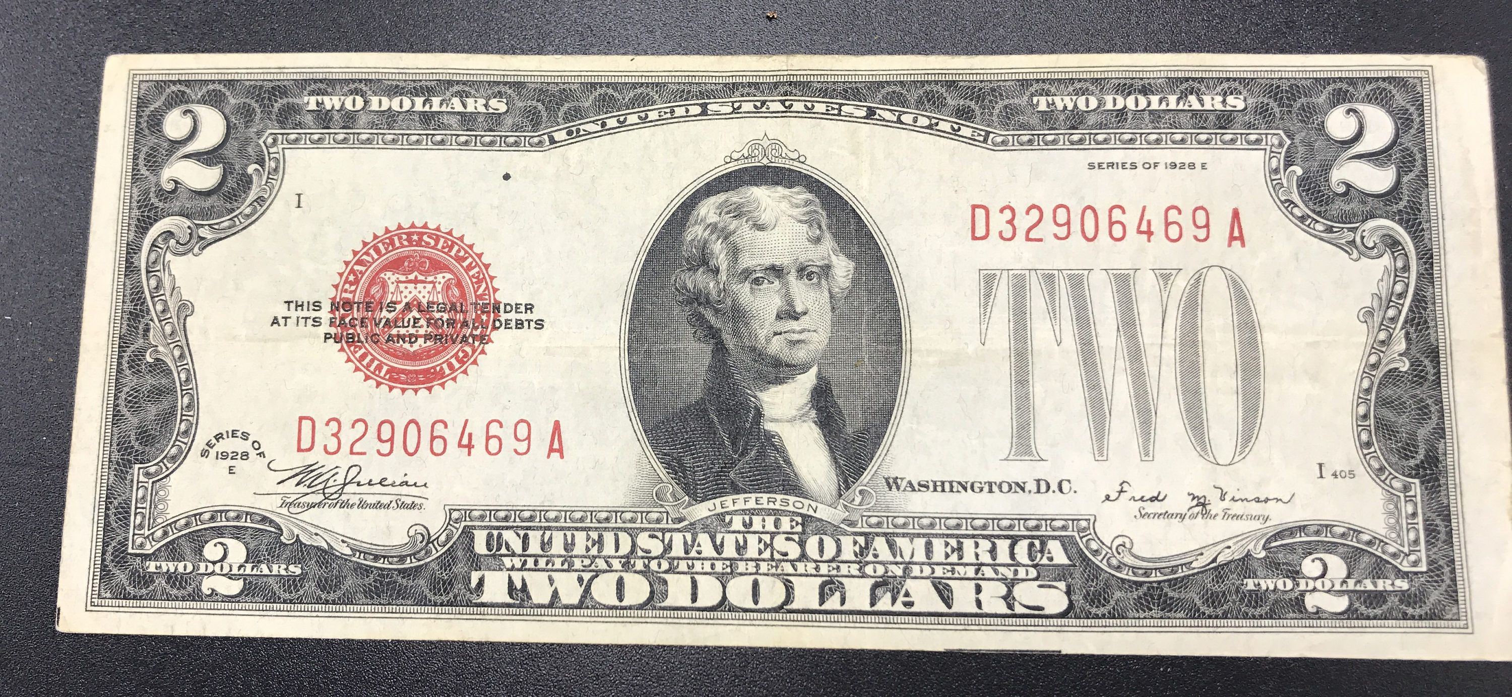 INVERTED TWO DOLLAR $2 US Bill Legal Tender COLORIZED 2-Sided UPSIDE DOWN ERROR