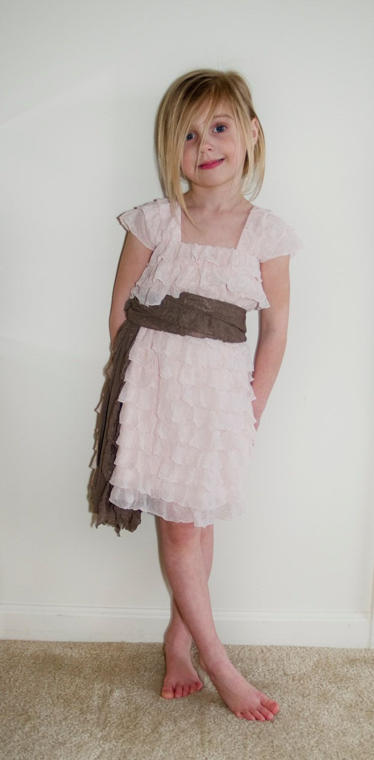 007c9ae2cb5 so adorable! Blush Pink Ruffle Flower Girl Dress with Taupe Sash ...