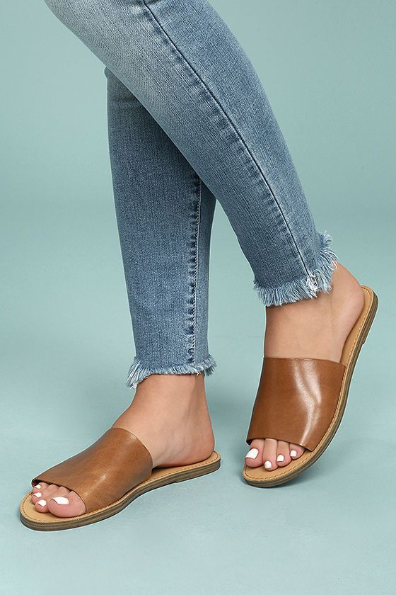 Steve Madden Grace Cognac Leather Slide Sandals