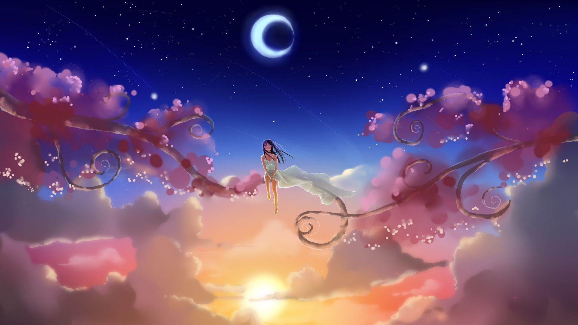 Fantasy 3d Mysterious Mystery Wallpaper Girl Sitting Sky Art Wallpaper Anime Wallpaper World Wallpaper