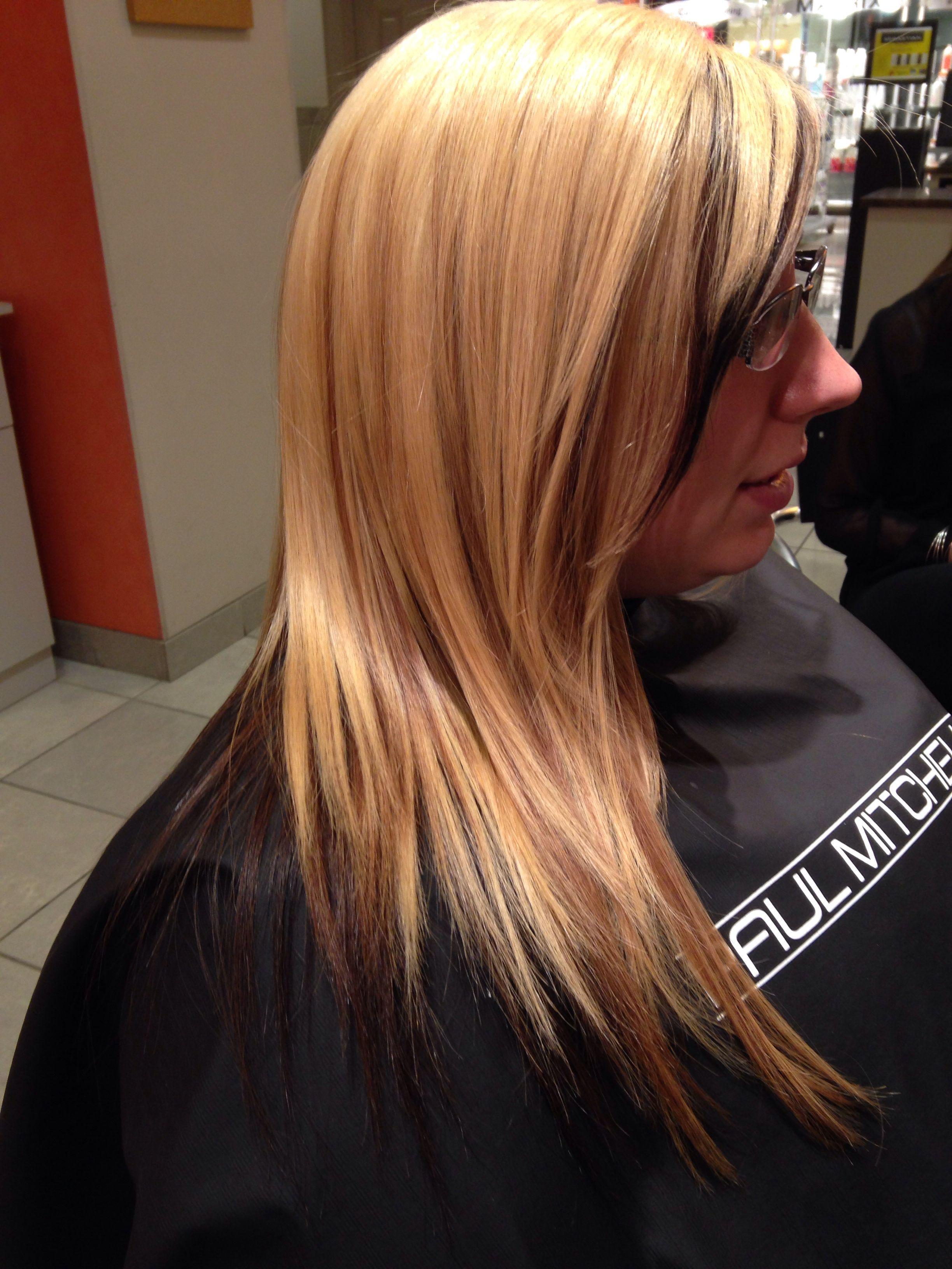 Blonde To Dark Auburn Underneath Two Tone Dying Hair Long Hair