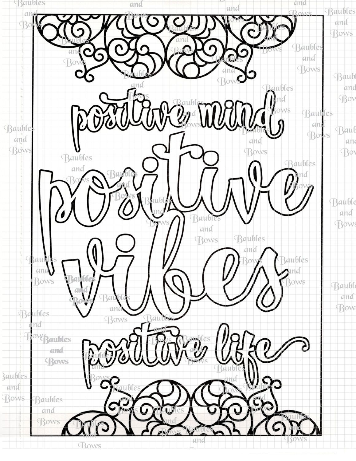 Positive Printable Adult Mandala Coloring Page Digital By