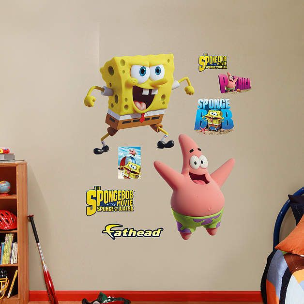Fathead SpongeBob Patrick Out Of Water Decals Wall Sticker - Spongebob room decals