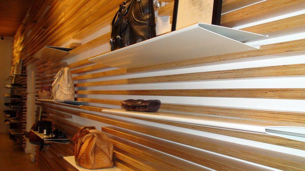 Atrium Miami Fashion Boutique Flexible Display Walls Wood Slat