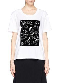 SANDRO'Taylor' velvet flock scribble T-shirt