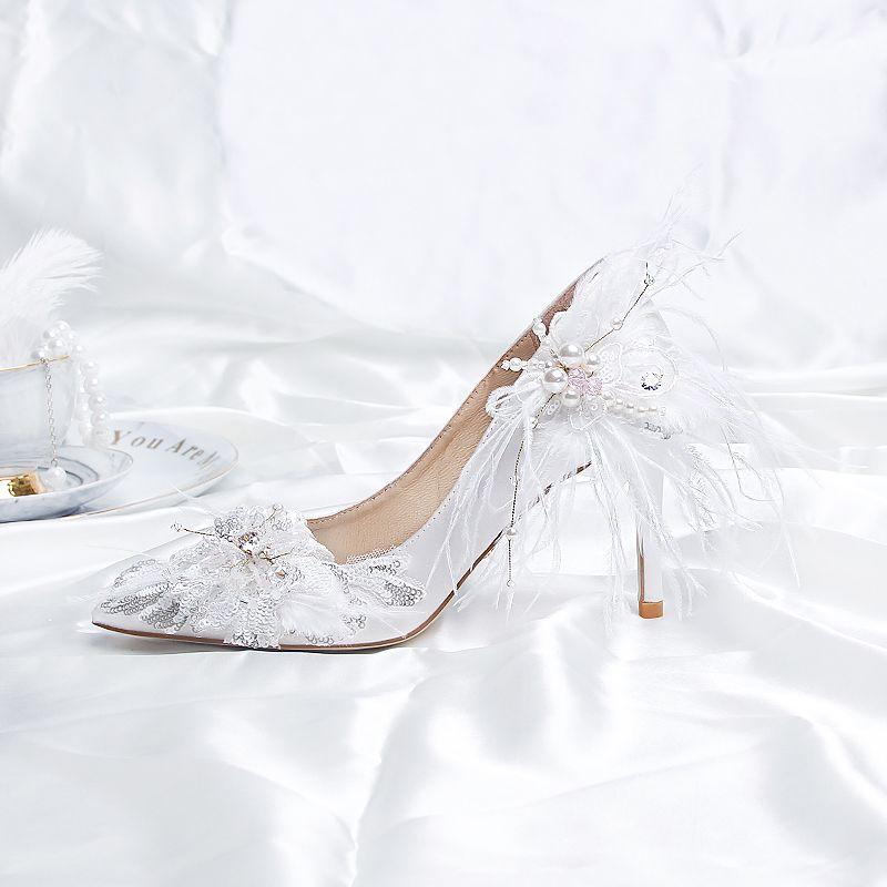 Stylowe Modne Biale Buty Slubne 2020 Satyna Skorzany Pioro Perla Cekiny 9 Cm Szpilki Szpiczaste Slub Czolenka Stiletto Heels Wedding Pumps White Wedding Shoes