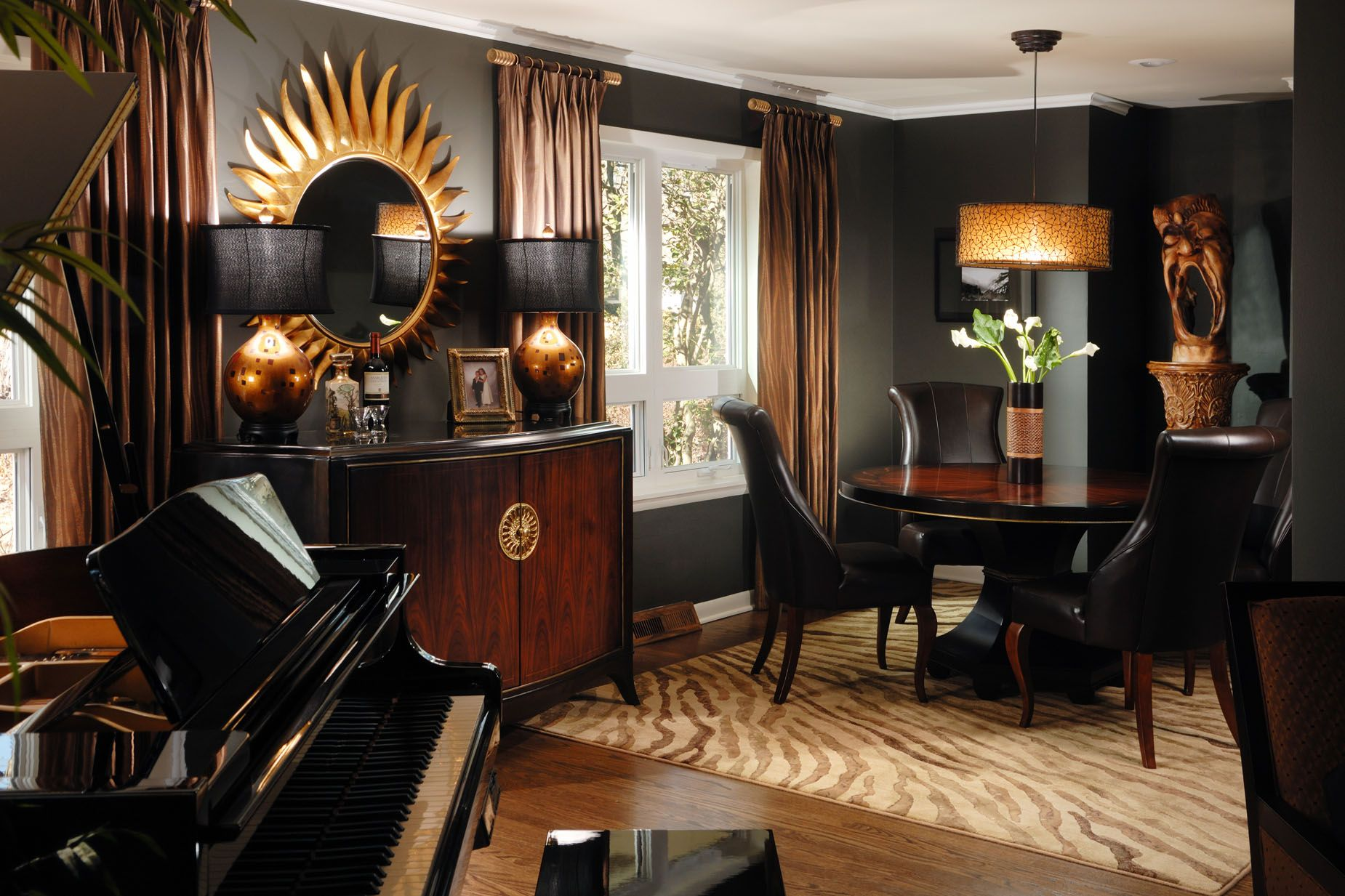 Modern Eclectic Sleek Style Black Rich Brown And Gold 1850