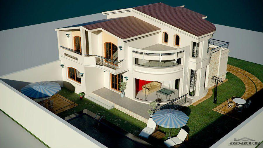تصاميم خارجية لفيلا تحنوى على بدورم وطابقين المسبح و الحديقة Dream House Pictures Small House Design Exterior Classic House Exterior